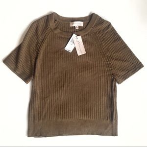 NWT Philosophy Short Sleeve Olive Green Sweater XS